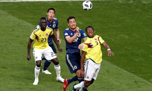 Soccer Football - World Cup - Group H - Colombia vs Japan - Mordovia Arena, Saransk, Russia - June 19, 2018 Japan's Maya Yoshida and Gen Shoji in action with Colombia's Oscar Murillo and Davinson Sanchez REUTERS/Damir Sagolj
