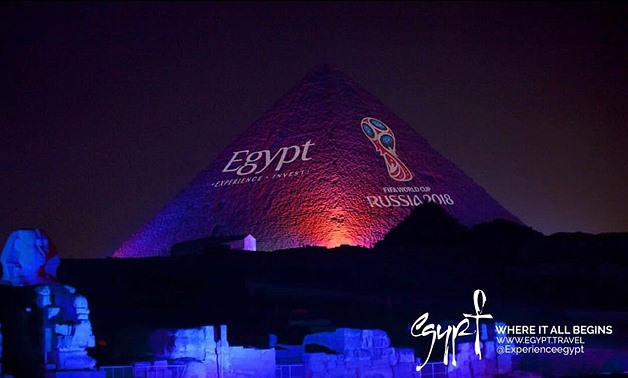 •	Lighting up the pyramids in celebration of announcing Egypt regional supporter of FIFA 2018 World Cup – Egypt.travel/worldcup