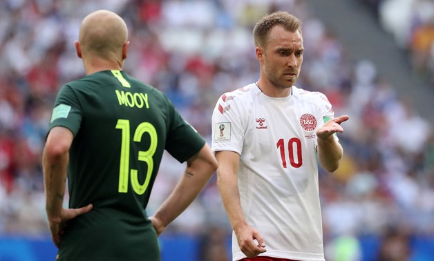 Soccer Football - World Cup - Group C - Denmark vs Australia - Samara Arena, Samara, Russia - June 21, 2018 Denmark's Christian Eriksen reacts next to Australia's Aaron Mooy REUTERS/Pilar Olivares