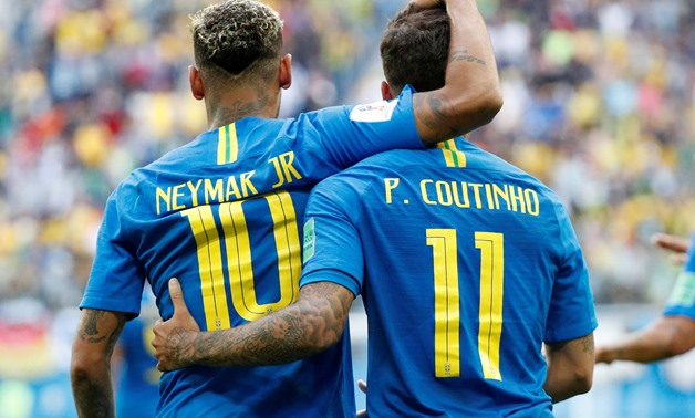 Soccer Football - World Cup - Group E - Brazil vs Costa Rica - Saint Petersburg Stadium, Saint Petersburg, Russia - June 22, 2018 Brazil's Philippe Coutinho celebrates scoring their first goal with Neymar REUTERS/Max Rossi