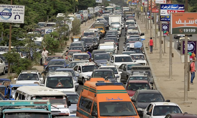 FILE - Heavy traffic of Greater Cairo