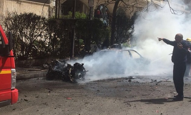 The security director of Alexandria survived an assassination attempt on Saturday, after a massive explosion targeted his convoy at Rushdy district in the center of Alexandria governorate on March 24, 2018 - Press photo