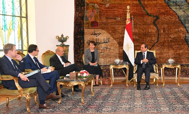 President Abdel Fatah al-Sisi during meeting French Foreign Affairs Minister Jean-Yves Le Drian in Cairo on Thursday June 28 – Press Photo