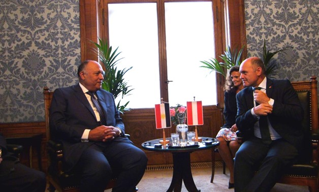 Egyptian Foreign Minister Sameh Shoukry meets with President of Austrian Parliament and President of National Council of Austria Wolfgang Sobotka on Friday in Vienna- Press photo