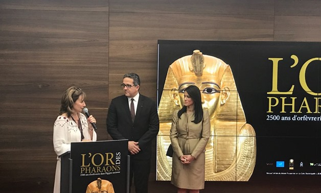 General Manager of Grimaldi Forum Sylvie Biancheri with Minister of Antiquities Khaled Anany and the Minister of Tourism Rania Al-Mashat during a press Conference, July 6 2018 - Egypt Today/Khaled Salah