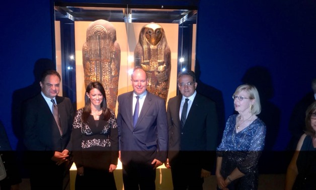 Prince Albert II with Minister of Antiquities Khaled Anany and the Minister of Tourism Rania Al-Mashat during the inauguration of The Gold of the Pharaohs exhibition, July 6 2018 - Egypt Today/Khaled Salah