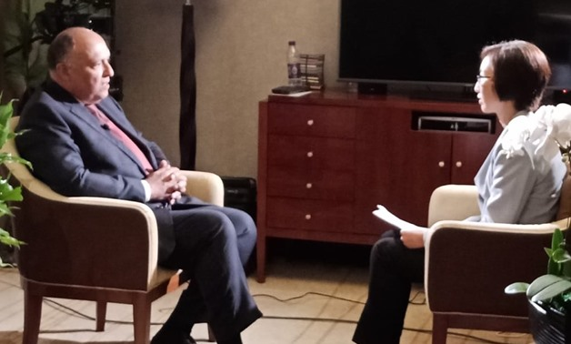 Egypt's Foreign Minister Sameh Shoukry during an interview with Chinese Arabic-speaking satellite channel CGTN - Screen Shot