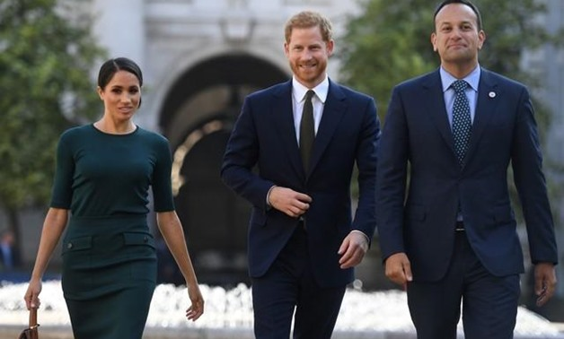 Britain's Prince Harry and his wife Meghan, the Duke and Duchess of Sussex, are greeted by the Taoiseach Leo Varadkar - Reuters