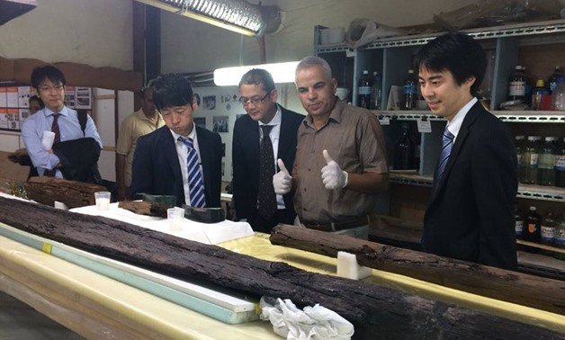 Director General of Japan International Cooperation              Agency (JICA) in Europe and the Middle East, Masataka              Takeshita, and JICA Chief Representative in Egypt, Yoshifumi              Omura, inspected on Wednesday the project of reconstructing              Khufu's solar boat-Ministry