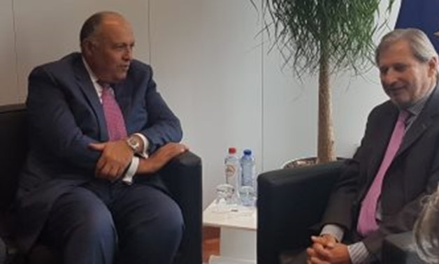 FILE - Egypt's Foreign Minister Sameh Shoukry holds a meeting with Johannes Hahn of the European Neighborhood Policy & Enlargement Negotiations on Wednesday in Brussels mainly on Cairo's efforts to combat illegal migration