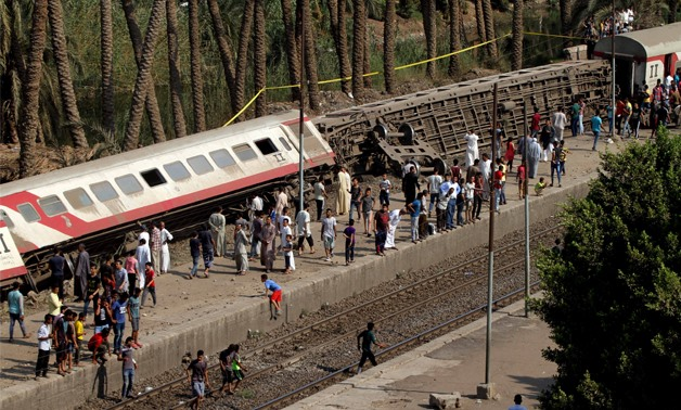 Three trains cars derailed in Giza, leaving at least 34 injured on Friday, July 13, 2018- Khaled Kamel/ Egypt Today