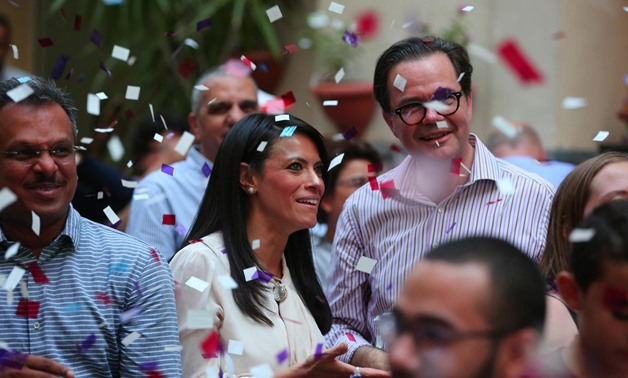 Minister of Tourism Rania al-Mashat celebrates France's winning of World Cup 2018 alongside French ambassador Stephane Roumtier and fans at Institut francais d'Egypte on July 15, 2018 - Egypt Today/By Hussein Tallal