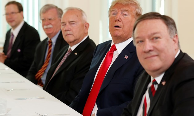 U.S. President Donald Trump, U.S. Secretary of State Mike Pompeo, U.S. National Security Adviser John Bolton and Robert Frank Pence Ambassador of the United States of America to the Republic of Finland participate in a breakfast with Finland's President S