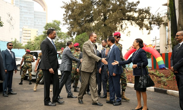 Eritrean President, Isaias Afwerki greets delegates during the Inauguration ceremony marking the reopening of the Eritrean Embassy in Addis Ababa, Ethiopia July 16, 2018. REUTERS/Tiksa Negeri