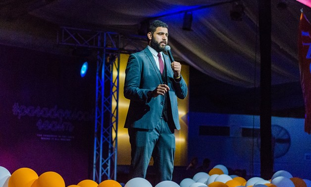 AIESEC's first Egyptian global president, Abdel-Rahman Ayman addresses the International Congress of AIESEC global youth organization, held in Hurghada from 2 to 9 July- Photo Courtesy to AIESEC Facebook page