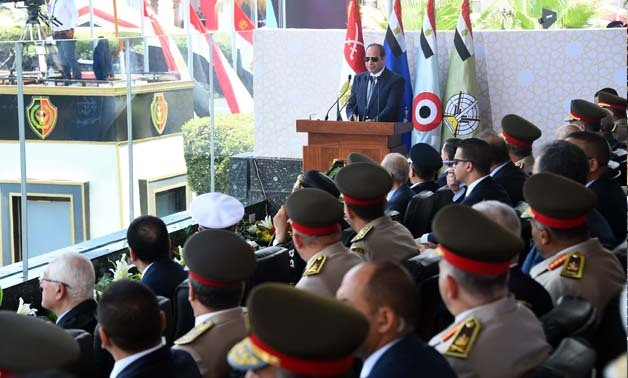 President Abdel Fatah al-Sisi addresses the attendees at the graduation ceremony of military academies - Press Photo/Courtesy by The Presidency