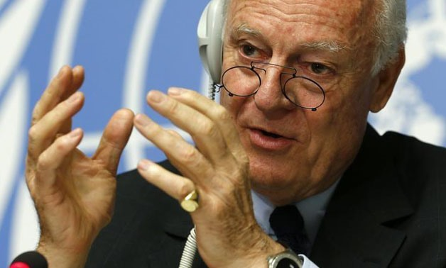 United Nations Special Envoy for Syria, Staffan de Mistura gestures during a news conference at the United Nations European headquarters in Geneva, Switzerland, May 5, 2015. REUTERS/Denis Balibouse