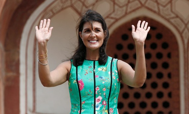 U.S. Ambassador to the United Nations Nikki Haley gestures as she stands in front of Humayun's Tomb in New Delhi, India, June 27, 2018. REUTERS/Adnan Abidi