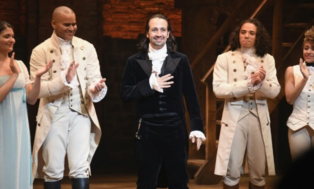 """Lin-Manuel Miranda (C) -- shown here at his final performance of """"Hamilton"""" on Broadway in July 2016 -- will be honored with the rest of the musical's creative team at this year's Kennedy Center Honors- GETTY IMAGES NORTH AMERICA/AFP/File / Nicholas Hunt"""