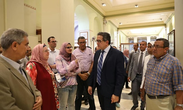 Minister of Antiquities Khaled al-Anany visited the Egyptian Museum in Tahrir on Wednesday-Ministry of Antiquities' official Facebook page