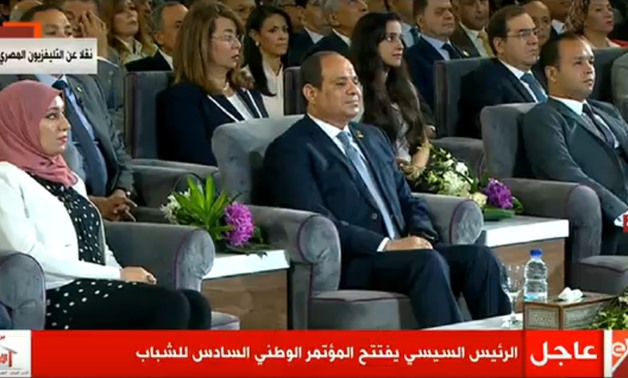 President Abdel Fatah al-Sisi addresses the attendees at the National Youth Conference at Cairo University on July 29, 2018 – Press photo/Presidency