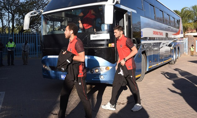 Al-Ahly players arrive in Botswana National Stadium - Press image courtesy of Al_Ahly official website
