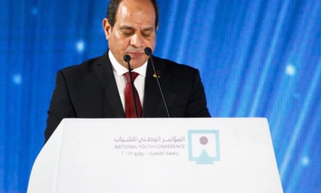 Egyptian President Abdel Fatah al Sisi concludes the 6th National Youth Conference (NYC) held at Cairo University - Press photo