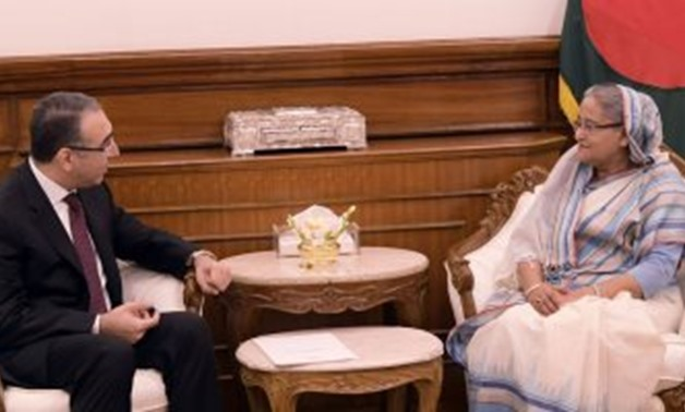Bangladesh's Prime Minister, Sheikh Hasina, and Egyptian Ambassador, Walid Shams - Egypt Today