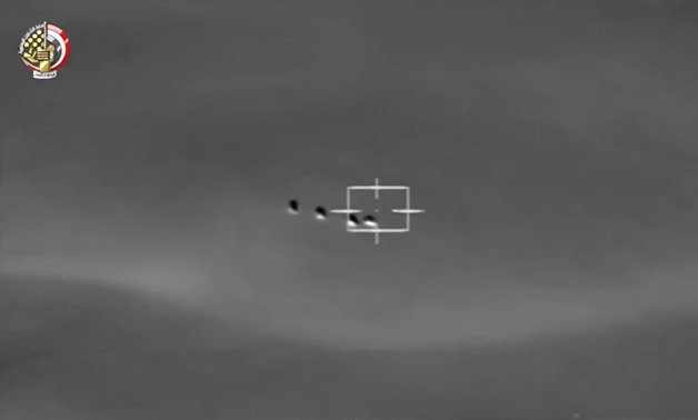 Egyptian Air force targets infiltration attempt_ screenshot of Defense Ministry's video