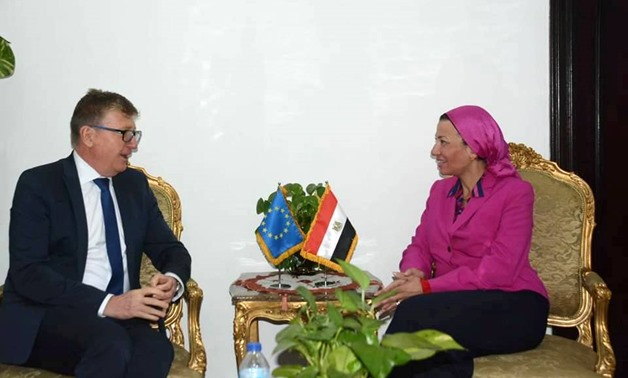 Minister of Environment Yasmine Fouad held talks on Tuesday with head of the European Union (EU) delegation to Egypt Ivan Surkos – Courtesy of the Ministry of Environment