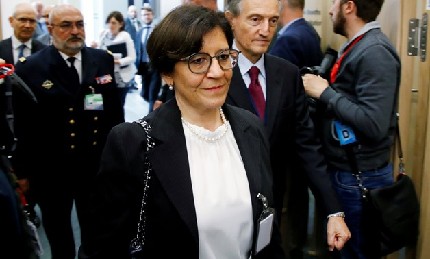 FILE PHOTO: Italian Defence Minister Elisabetta Trenta arrives at a NATO meeting in Brussels, Belgium, June 8, 2018. REUTERS/Francois Lenoir