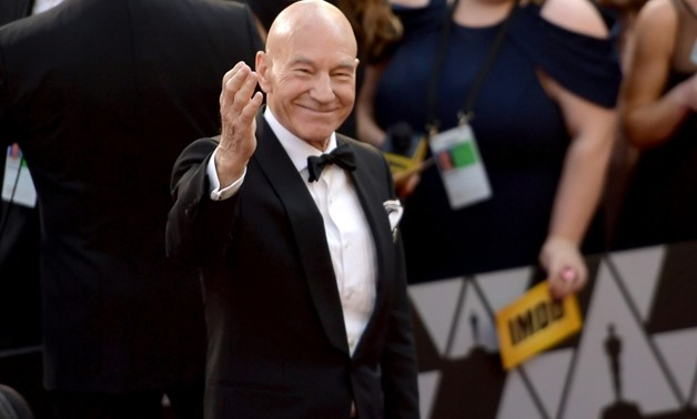Patrick Stewart attends the 90th Annual Academy Awards in Hollywood, California.