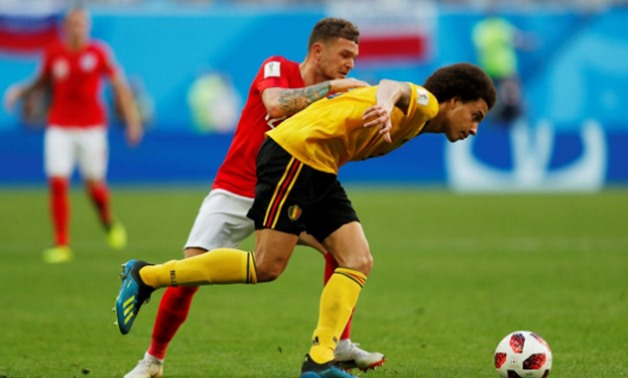 FILE PHOTO - Soccer Football - World Cup - Third Place Play Off - Belgium v England - Saint Petersburg Stadium, Saint Petersburg, Russia - July 14, 2018 England's Kieran Trippier in action with Belgium's Axel Witsel REUTERS/Lee Smith