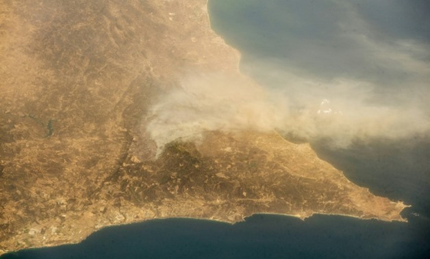 A picture of Portugal, where a fire is raging, taken by German astronaut Alexander Gerst from the International Space Station