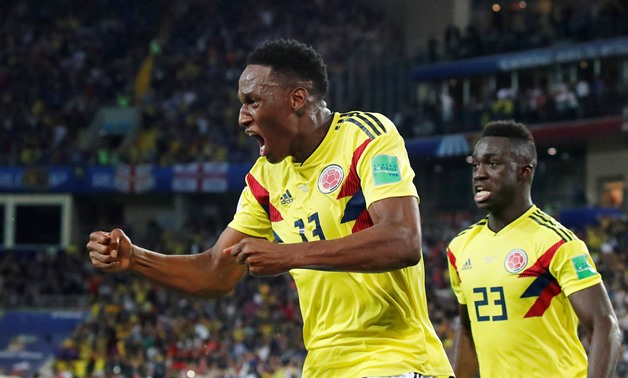 FILE PHOTO: Soccer Football - World Cup - Round of 16 - Colombia vs England - Spartak Stadium, Moscow, Russia - July 3, 2018 Colombia's Yerry Mina celebrates scoring their first goal REUTERS/Maxim Shemetov/File Photo