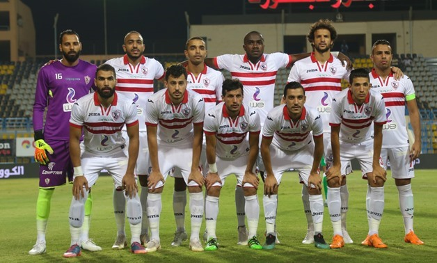Zamalek players pose ahead of their game against Al Ittihad at the League - Karim Abdel Aziz