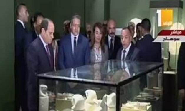 Abdel Fatah el-Sisi listening to Mostafa Waziri's Explaination regarding museums collectibles- Egypt Today
