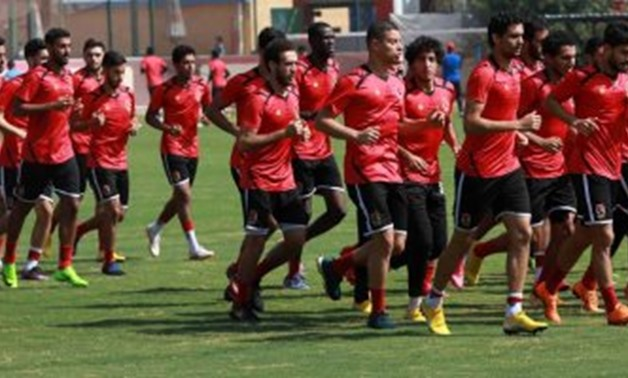 Al-Ahly's team in the training session before Nejmeh's match – Press Photo