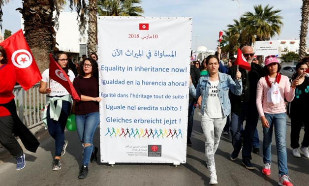 Protesters shout slogans during a march, demanding equal inheritance rights for women, in Tunis, Tunisia March 10, 2018. REUTERS/Zoubeir Souissi