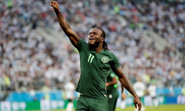 FILE PHOTO: Soccer Football - World Cup - Group D - Nigeria vs Argentina - Saint Petersburg Stadium, Saint Petersburg, Russia - June 26, 2018 Nigeria's Victor Moses celebrates scoring their first goal REUTERS/Toru Hanai/File Photo