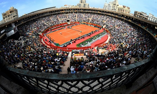 General view of the Valencia's bullring during the Davis Cup quarter-final tennis match between Spain's David Ferrer and Germany's Alexander Zverev, on April 6, 2018