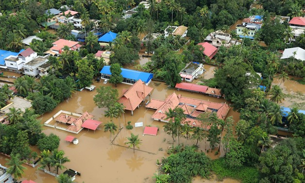 his picture taken on August 18, 2018 shows a view of a flooded area in the north part of Kochi, in the Indian state of Kerala. AFP/ STR