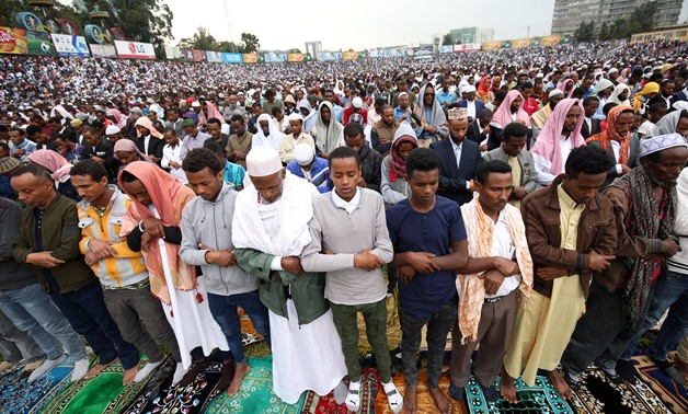 Muslim faithful attend prayers to mark Kurban-Ait, also known as Eid al-Adha, in Addis Ababa, Ethiopia August 21, 2018. REUTERS/Tiksa Negeri