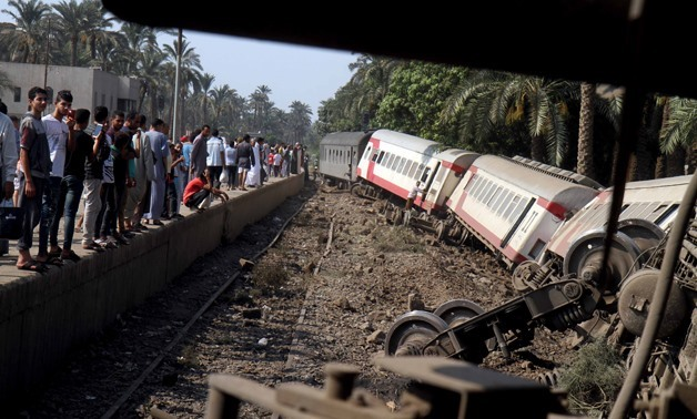 Upper Egypt-bound train derailed on Friday in Giza, leaving 55 people injured- Egypt Today/Khaled Kamel