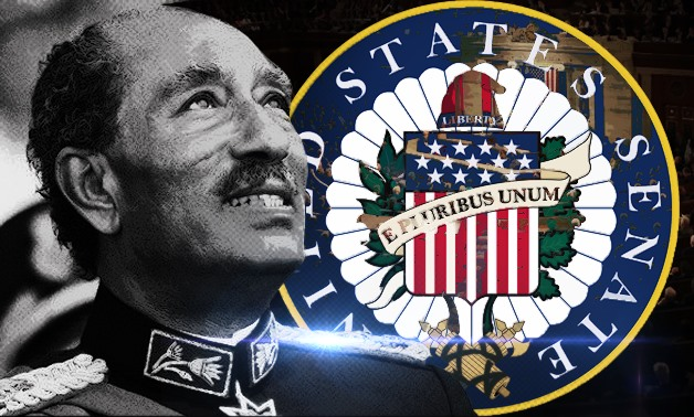 """""""A bill (S. 266) to award the Congressional Gold Medal to Anwar Sadat in recognition of his heroic achievements and courageous contributions to peace in the Middle East,"""" The bill stated – Photo illustrated by Egypt Today/Mohamed Zain"""
