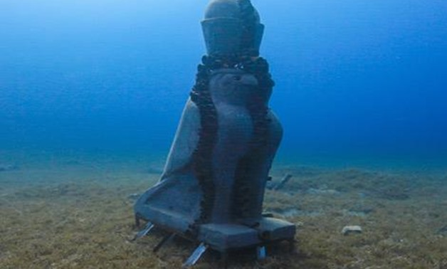Far away from the crowded city, there are underwater newly-made statues to attract tourism not only on land, but also under the sea in Dahab, Southeast cost of Sinai - Screen shot from CBC channel