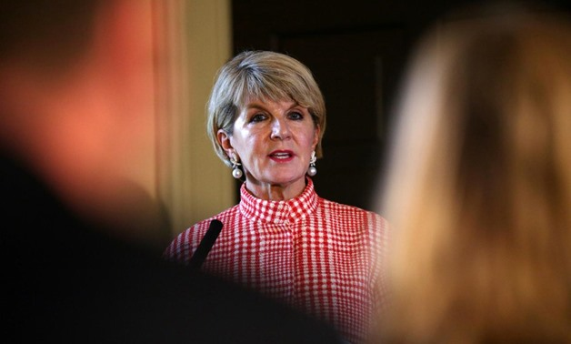 FILE PHOTO - Australia's Foreign Minister Julie Bishop gives a press conference at the Royal Botanic Garden in Edinburgh, Scotland July 20, 2018.