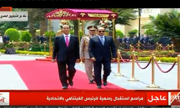 Egypt's President Abdel-Fatah al-Sisi (R) and Vietnamese counterpart Trần Đại Quang at Ittihadiya Palace - Screen shot from CBC channel