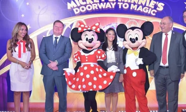 Press photo: Minister of Tourism Rania al-Mashat with Disney characters