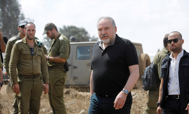 FILE PHOTO: Israeli Defence Minister Avigdor Lieberman visits an army drill in the Israeli-occupied Golan Heights near the border with Syria, Aug. 7, 2018. REUTERS/Amir Cohen